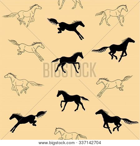 Galloping Horses On A Beige Background - Seamless Pattern. Silhouettes And Linear Figures Of Running