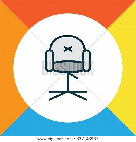 Stylish Chair Icon Colored Line Symbol. Premium Quality Isolated Ergonomic Armchair Element In Trend