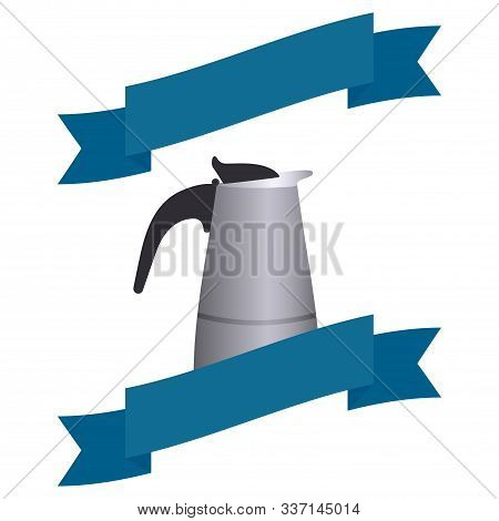 Italian Geyser Coffee Maker With A Decorative Blue Ribbon. Place For Text. Vector Flat Illustration