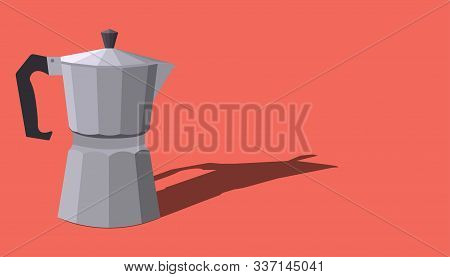 Banner Template With Italian Geyser Coffee Maker With Place For Text On A Red Background. Vector Fla