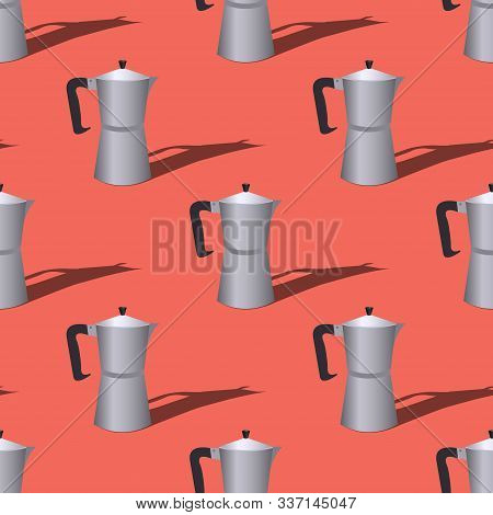 Seamless Pattern With Italian Geyser Coffee Makers On A Red Background. Vector Flat Illustration