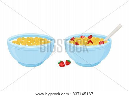 Cereal Breakfast. Milk And Sweet Crunchy Flakes With Strawberry. Ceramic Bowl With Spoon. Healthy Fo