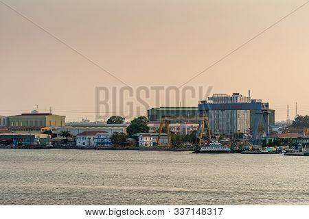 Binh Khanh, Vietnam - March 13, 2019: Sunset Sky Shot Over Long Tau River. Nha May Dong Tau X51 Ship