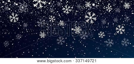 Snow. Realistic Snow Overlay Background. Snowfall, Snowflakes In Different Shapes And Forms. Snowfal