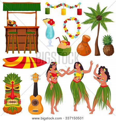 Travel To Hawaii Vector Icons And Design Elements Set. Traditional Hawaiian Symbols. Beautiful Hawai