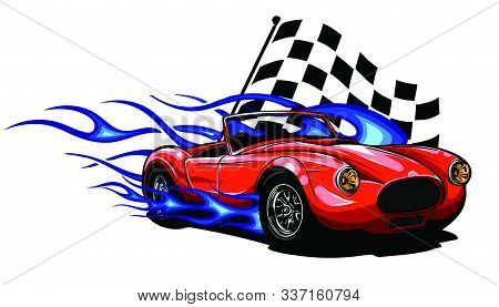 Car Muscle Old 70s Vector Illustration With Flames