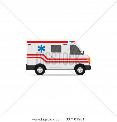 Urgent Ambulance Icon. Flat Illustration Of Urgent Ambulance Vector Icon. Ambulance Car Vector Desig