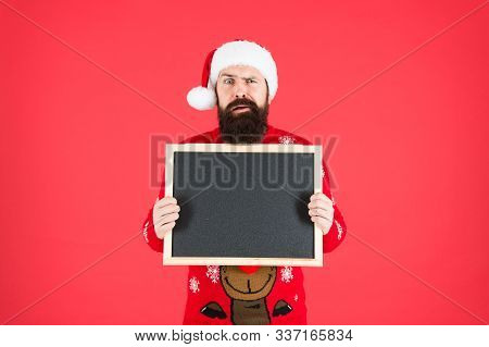 Presenting Product. Santa Hold Empty Blackboard Red Background. Beared Man Advertising Product. Prod