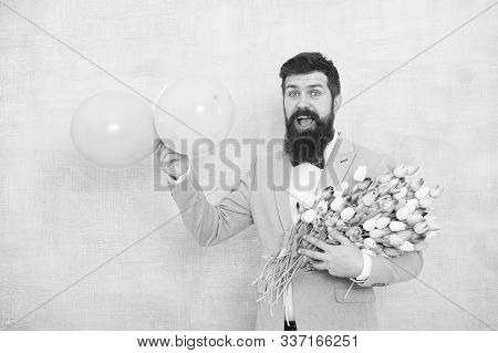 Gentleman Making Romantic Surprise For Her. Flowers Delivery. Gentleman Romantic Date. Birthday Gree