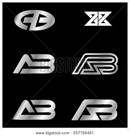 Set Ab Letter Type Logo Design. Set Ab Logo Vector Template. Creative Ab Logo. Letter Ab Logo. Ab Lo