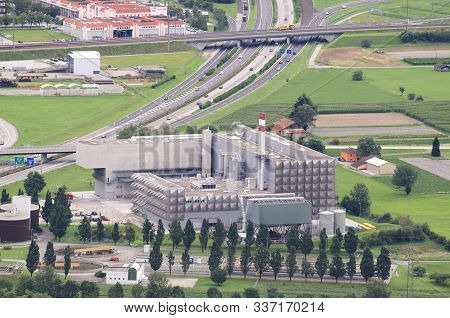 Giubiasco, Ticino, Switzerland - 13th August 2019 : View Of The Modern Waste Incineration Plant (was