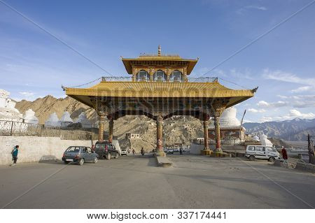 Leh, Jammu And Kashmir, India - July 27, 2011: Friendship Gate And Kalachakra Stupa In Leh, Former C