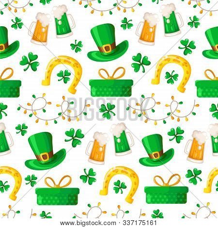 Saint Patrick Day Seamless Pattern - Cartoon Shamrock Or Clover, Lights Garland, Gift Box, Beer Cup,