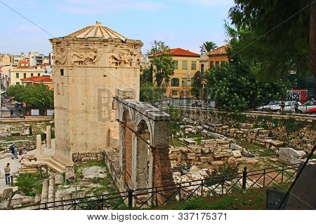 Athens, Attica, Greece - October 17, 2018:  Tourists Looking At The Ancient Excavated Roman Agora Ru