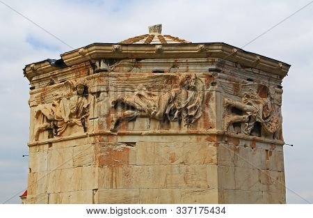 Details Of The Sculptures On The Top Of The Tower Of The Winds, A Clepsydra Near The Roman Agora In