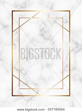 Marble Background With Gold Geometric Frame. Luxury Template For Wedding Invitation Cards With White