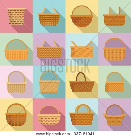 Wicker Icons Set. Flat Set Of Wicker Vector Icons For Web Design