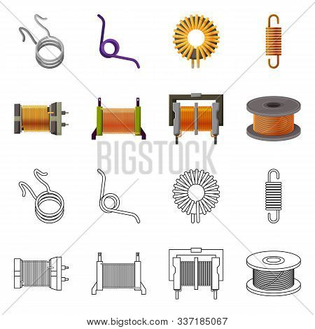 Vector Illustration Of Compression And Torsion Sign. Set Of Compression And Technology Stock Vector
