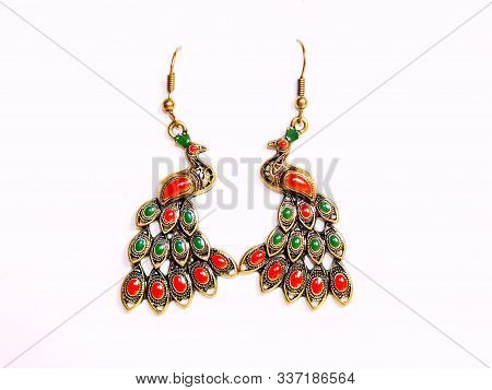 Multicolored Golden Jewelry Earrings Or Pendant Isolated On White Background. Indian Gold Earrings L