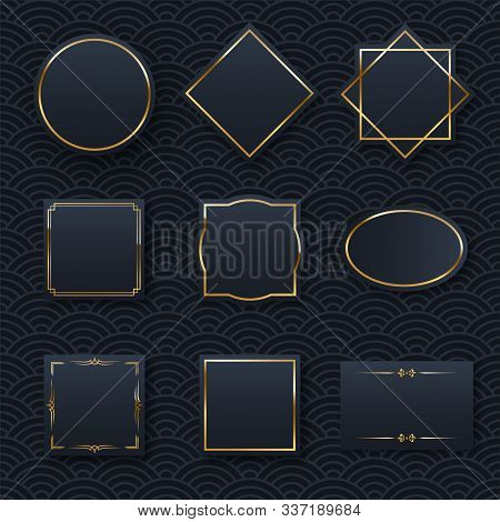 Golden Frame Set Minimalistic Templates With Text Space. Elegant Round Border With Shiny Gradient Ef