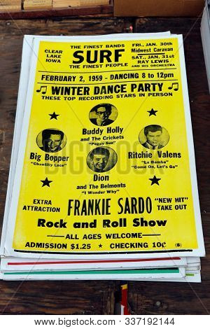 St. Charles, Illinois, USA. Sept. 1, 2019: Old poster of a winter dance party in Clear Lake, Iowa promoting a show to include Buddy Holly, Ritchie Valens, Big Bopper and Dion and The Belmonts.
