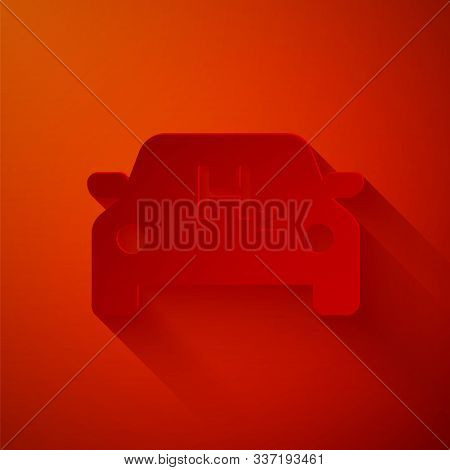 Paper Cut Hydrogen Car Icon Isolated On Red Background. H2 Station Sign. Hydrogen Fuel Cell Car Eco
