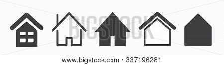 Home Button. Home Page. Collection Of Home Icons. Vector Web Home Icon, Building Symbol.
