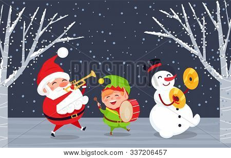 Xmas Characters With Musical Instruments Singing Songs. Caroling Of Santa Claus, Elf And Snowman. Tr