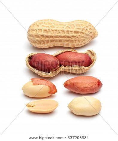 Dried Peanuts In Peel Closeup Isolated On White Background