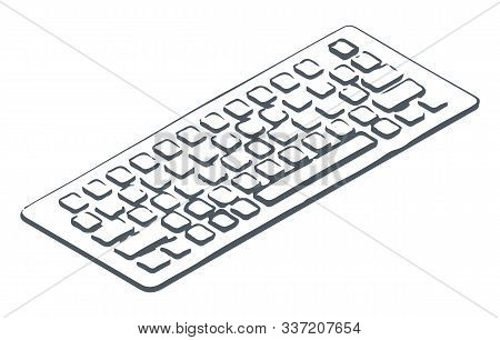 Personal Computer Keyboard, Isolated Icon Hand Drawn And Colorless. Monochrome Sketch Outline Of Dev