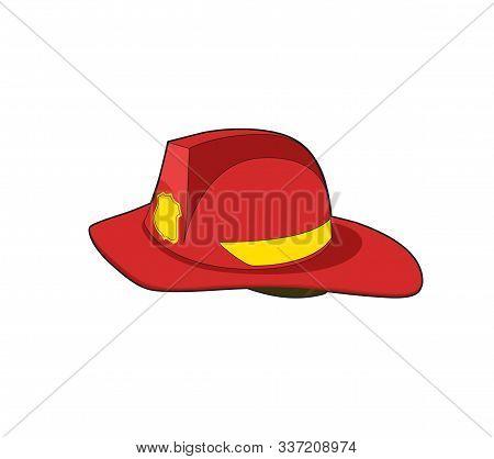 Fireman Red Helmet. Firefighter Safety Hat. Vecto Rillustration.