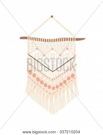 Macrame Modern Design Vector Illustration. Wall Hanging Decoration With Thread Fringe, Cord And Bead