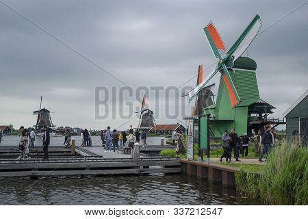 Zaanse Schans, Netherlands - 5th June, 2019: Picturesque Calm View Of Zaanse Schans, Open-air Museum