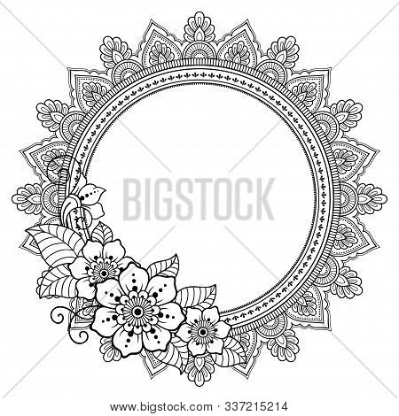 Frame With Flower In Eastern Tradition. Stylized With Henna Tattoos Decorative Pattern For Decoratin