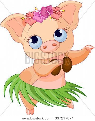 Cute cartoon dancing Hawaiian pig
