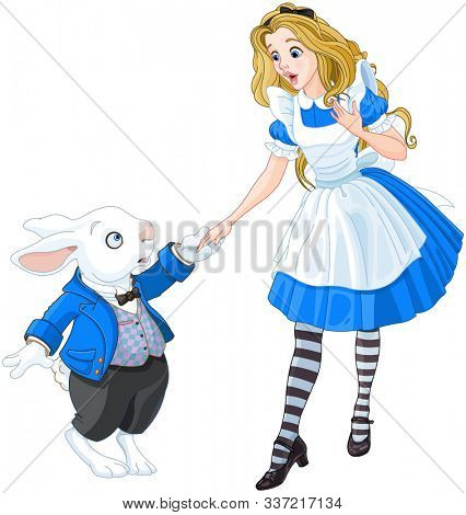 A girl meets a white rabbit