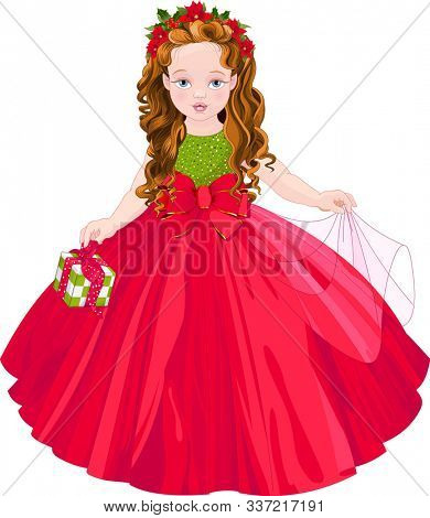 Illustration of  cute Christmas princess