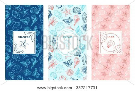 Handmade Sea Seashell Cosmetics Hand Drawn Vector Packaging Templates Set. Shampoo, Cream Soap Verti