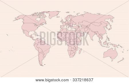 Vintage World Map Pink Shade Background Vector. Great For Business Concepts, Digital Backgrounds, Ba