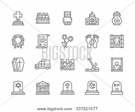 Set Of Funeral Line Icons. Church, Crypt, Testament, Coffin, Hearse And More.