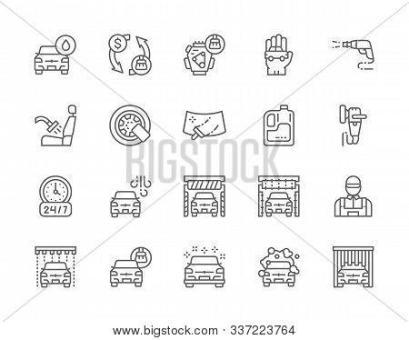 Set Of Car Wash Line Icons. Polishing Machine, Wheel Lock, Windshield And More.