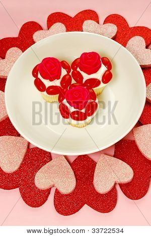 Heart Shapes And Cupcakes