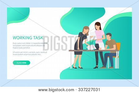 People Working Task, Man And Woman Holding Papers Or Documents, Male Sitting At Desktop, Portrait Vi