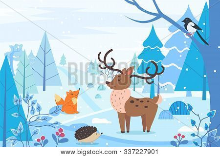 Deer And Hedgehog, Fox And Bullfinch Sitting On Branch In Winter Forest. Landscape Of Woodlands With