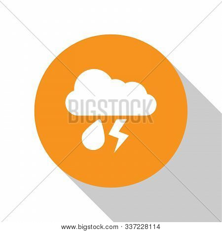 White Cloud With Rain And Lightning Icon Isolated On White Background. Rain Cloud Precipitation With