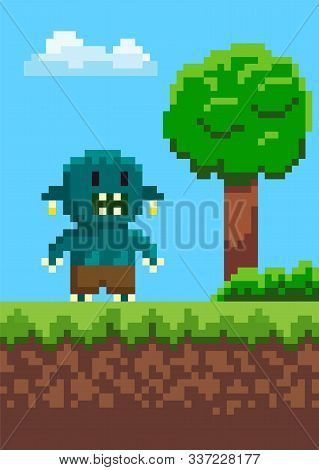 Orge With Teeth Standing On Grass, Geek Character On Ground, Portrait View Of Monstrosity, Green Tre