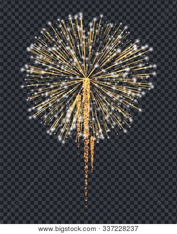 Firework Sparkling With Lights Isolated On Transparent Background. Explosion For Festival, Festive M