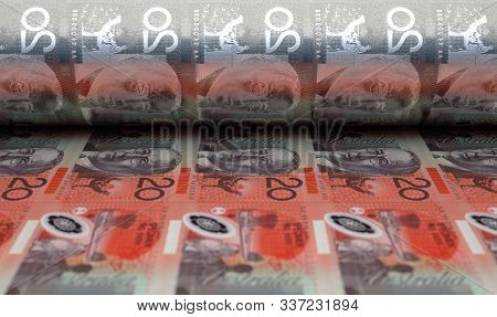 A Concept Image Showing A Sheet Of Australian Dollar Notes Going Through A Roller In Its Final Phase