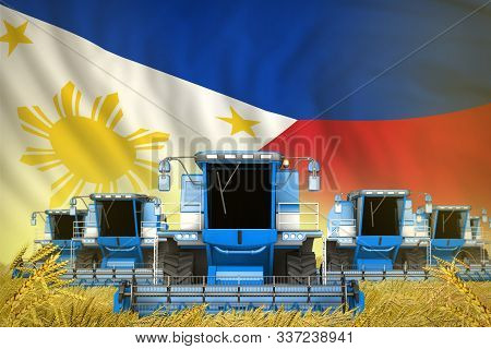 Many Blue Farming Combine Harvesters On Wheat Field With Philippines Flag Background - Front View, S