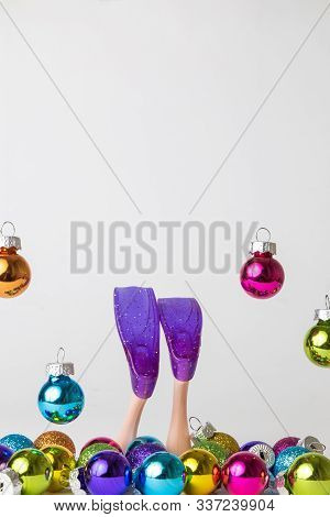 Christmas And New Year Scuba Diving With Multicolored Baubles Abstract.